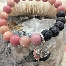 Aromatherapy diffuser Essential Oil Lava Bracelet Rhodonite Gem Lotus Flower