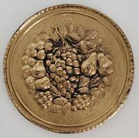 Peerage Brass Embossed Wall Hanging Plate Fruit Vintage