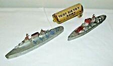 Vintage Prewar Tootsie Toy Aircraft Carrier, Destroyer & Diary Trailer
