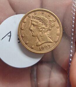 1907-D US $5 GOLD LIBERTY -#A345