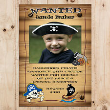 Personalised Pirate Birthday Party WANTED Banner Poster N2 A4 Size
