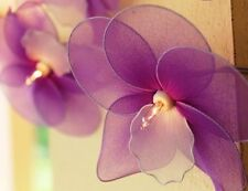 Purple Thai Orchid Style Flower Fairy Light String 20 Flowers Long