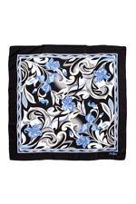 foulard en soie MONTANA noir/bleu fleuri 90 x 90 cm - neuf
