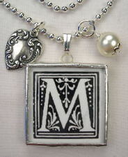 MONOGRAM INITIAL LETTER  M  REVSBL HEART CHARM NECKLACE
