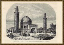 Antique print mosque shah Meched greater Khorasan Persia 1861