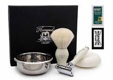 White Badger Hair Shaving Set Of 4 ( Brush, DE Safety Razor,Steel Bowl & Soap)
