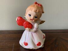 Vintage Lefton Valentine Hearts Girl Angel Figurine #7699 Valentine's Day Angel