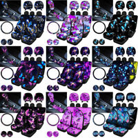Women Car Seat Covers Butterfly Steering Wheel Cover with Coaster Pad 11pcs Set