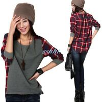 Women Gril`s Long Sleeve Plaid Checked Casual Loose T-Shirt Tops Blouse