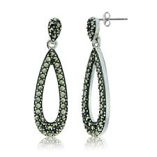 Sterling Silver Marcasite Open Teardrop Dangle Earrings