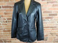 Worthington Women's Black Genuine Lambskin Leather Jacket Coat Size M NOS