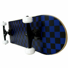 PRO Skateboard Complete Pre-Built CHECKER PATTERN Black/Blue 7.75""