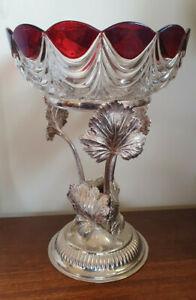 Vintage Silverplate Vine Leaf Centrepiece with Glass Bowl
