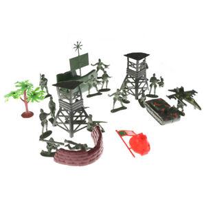 21pcs Plastic Model Toy Soldiers Figures  Men Accessories Sand Scene gtJCAUB-hg