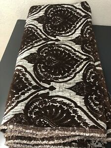 """Brown  Gray Jacquard Damask Heavy-Duty Upholstery Fabric 3yds X 58"""" Wide"""