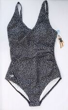 NEW SPEEDO Women's One Piece Swimsuit Ruched Side 1 PC 7228761 Black/White 6