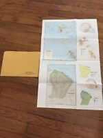 Vintage Original 1970's CIA Map of Martinique, Guadeloupe & French Guiana