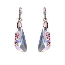 HANABE KOREA Handmade Lavender Swarovski Crystal Unique Handset Drop Earrings