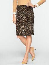 NEW $109 TALBOTS Black,Cognac Brushed Animal Jacquard Pencil Skirt  8P,8 Petite