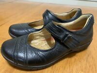 CLARKS UnStructured Black Leather Hook & Loop Mary Janes Oxfords 6.5 EUC!