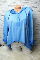 Italy Shirt Bluse Hemd blau Gr. 36 38 40 42 Vintage Oversized Kapuze blogger NEU