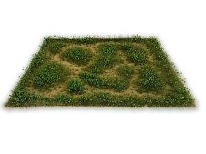 Wild Grass Mat w/ Bushes Model Scenery Landscape Ground Cover Tufts Grass RR