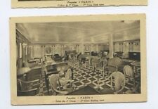 SS Paris Postcard - 2nd Class Drawing Room / Salon - CGT French Line