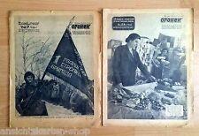 2 x russiche Militär Zeitung 1941/1942 OGONEK mit vielen Karikaturen RAR( F11783