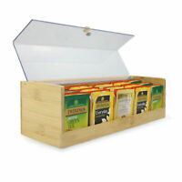 Bamboo Tea Storage Box 5 Compartment Tea Bags Organiser With Clear Lid M&W