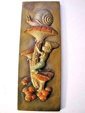 Vintage Chalkware, Peter Pan or Leprechaun Kissing Magic Mushrooms w Snail