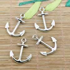 8pcs white k color curved anchor pendant EF2424