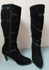Black Suede Boots with a Little Bling - Size 6