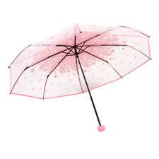 Fashio Romantic Transparent Apollo Pink Sakura 3 Fold Umbrella Blossom Mushroom