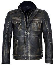 Hombre Vintage Retro Caliente Negro Estilo Motero 100% REAL LEATHER JACKET 1501