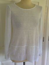PHASE EIGHT beautiful white 100% LINEN fine knit lace trim tunic jumper UK 8