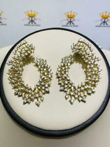 Yellow Gold Sterling Silver White Sapphire Red Carpet Design Chandelier Earrings