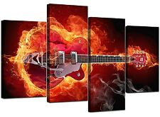 Abstract Red Guitar Canvas Wall Art Pictures 130cm XL Prints Set 4065