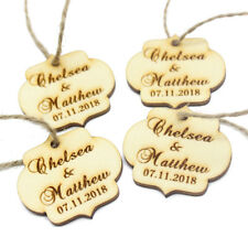 20*Personalised Wooden Square Oval Wedding Tags Wine Tag Gift Decor Favors 4*4cm
