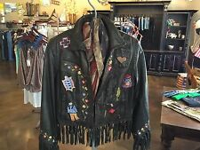 """Double D Ranch wear Black Leather Fringe """"This Land Is Your Land"""""""