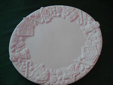 """Ceramic 04 Bisque Large Gingerbread Platter 14""""x17"""" Country """"My Way"""" Ceramic"""