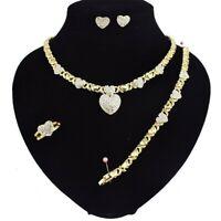 "#18 HUGS & KISSES Necklace With Bracelet 18"" Xo Earrings, (Ring size 9) 18k..."