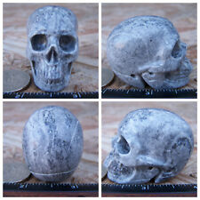 """2.0"""" Chinese Crazy Lace Skull Carved Stone 3.6oz 101g Crystal Healing Realistic"""