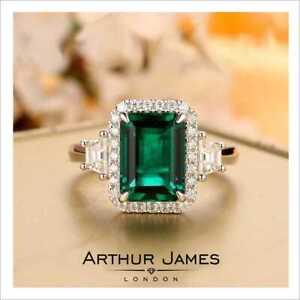 Halo 3.55 Ct Green Emerald Diamond Women Vintage Wedding Ring White Gold Finish