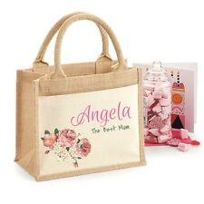PERSONALISED BAG FOR MUM GIFT BAG JUTE SHOPPER FOR MOTHERS DAY GIFT DUSKY PINK