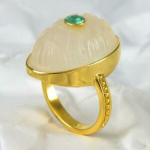 Ring US size 6 Gold Vermeil Sterling White Chalcedony Apatite Lotus 6.85 g