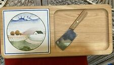 """Cheese & cracker tray with mini cleaver, 15"""" x 7"""", New & fine for entertaining!"""