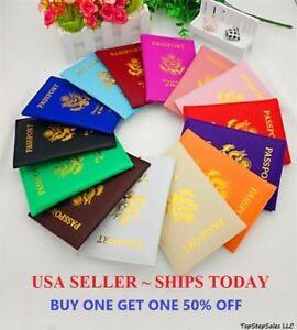 LEATHER PASSPORT HOLDER COVER WALLET TRAVEL CASE EMBLEM GOLD NEW USA