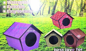 Portable Foldable Lightweight Padded Waterproof Dog Pet Cat House Kennel  Bed