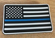 "Thin Blue Line 3""x5"" American USA Flag Police PVC Rubber ""VELCRO® brand"" hook"