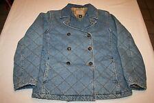 Ralph Lauren Jeans Outdoors Wear Quilted Denim Plaid Lined Coat Jacket sz s
